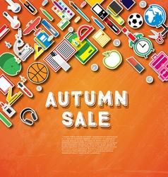 Autumn sale banner with school supplies vector image