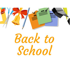 back to school background with school supplies set vector image