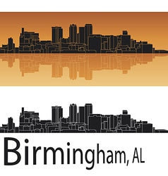 Birmingham skyline in orange background vector image