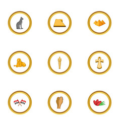 cairo icons set cartoon style vector image vector image