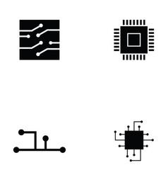circuit board icon set vector image