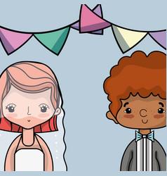 Couple lover merried celebration design vector