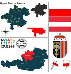 Map of Upper Austria vector image