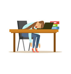 tired businesswoman sleeping on the desk with vector image vector image