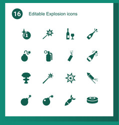 16 explosion icons vector image