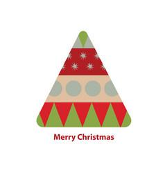 A geometric christmas tree with merry christmas vector