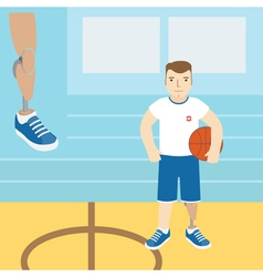 A man with a prosthetic leg holding a basketball vector image