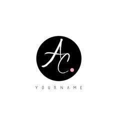 ac handwritten brush letter logo design with vector image