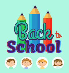 back to school children students in frames poster vector image