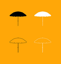 Beach umbrella set black and white icon vector