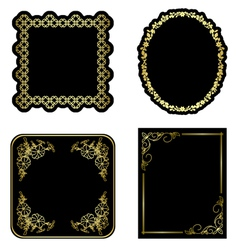 black and gold vintage frames - set vector image