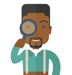 Black man with magnifying glass vector