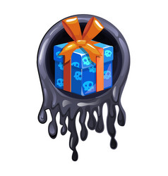 Black slime frame and gift icon for halloween vector