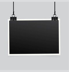Blank photo frame set hanging on a clip retro vector