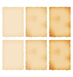 Burnt Paper Set Torn Border Isolated On White vector