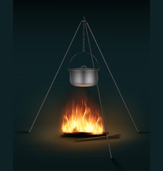 camping pot on bonfire vector image