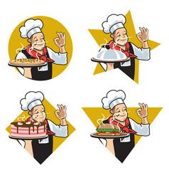 chef star logo set vector image
