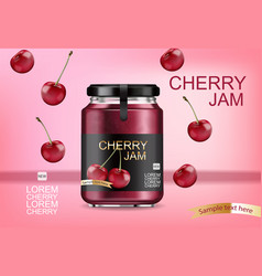cherry jam realistic mock up product placement vector image
