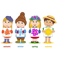 Children holding sheet of paper with icons vector