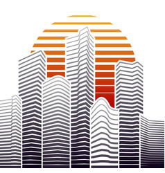 city skyline in flat style urban landscape vector image