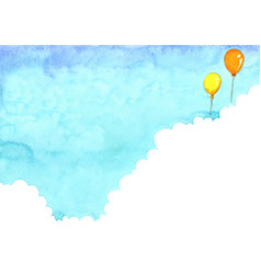 Cloud with blue sky background and balloon vector