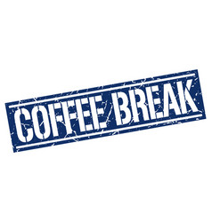 Coffee break square grunge stamp vector