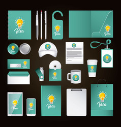 corporate identity template design with idea green vector image