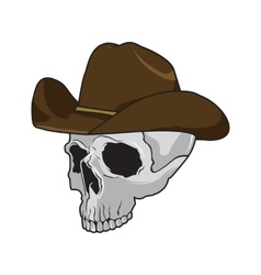 Cowboy skull wearing stylish brown fedora hat in a vector