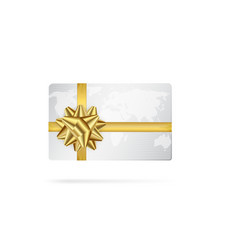 Credit or debit card with golden ribbon gift card vector
