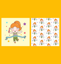 cute girl win relay sport character pattern vector image