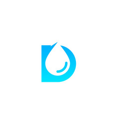 d letter water logo icon design vector image