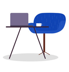 desk chair laptop round chair furniture close vector image