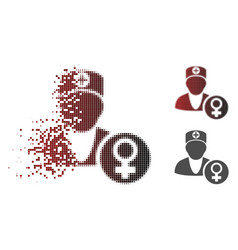 Dissolved dotted halftone gynecology doctor icon vector