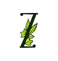 Doodling eco alphabet letter ztype with leaves vector
