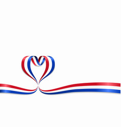 dutch flag heart-shaped ribbon vector image
