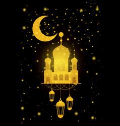 Eid mubarak temple facade with moon and lantern vector