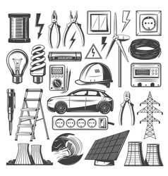 electricity power and energy sources icons vector image