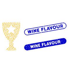 Ellipse mosaic winner cup with grunge wine flavour vector