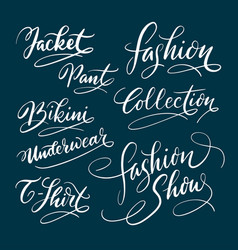 fashion and bikini hand written typography vector image