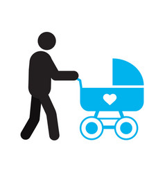 Father with baby carriage silhouette icon vector