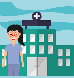 female with glasses staff professional hospital vector image