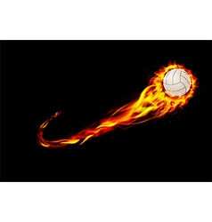 Fire burning volleyball with background black vector