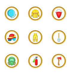 Firefighter service icon set cartoon style vector
