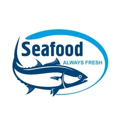 Fish market symbol with wild alaskan salmon vector image