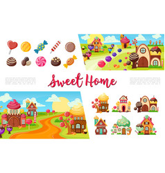 Flat sweets colorful collection vector