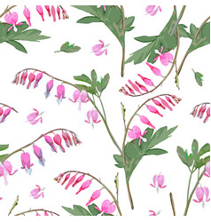 Floral pattern with bleeding heart flowers vector