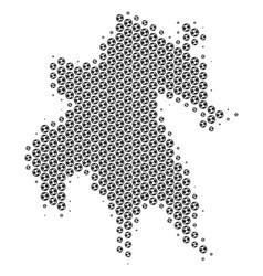 Football ball peloponnese peninsula map mosaic vector