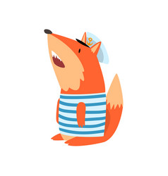 fox sailor wearing striped singlet and cap cute vector image