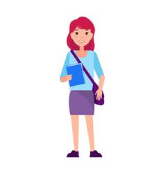 Freshman first year sudent girl in purple skirt vector