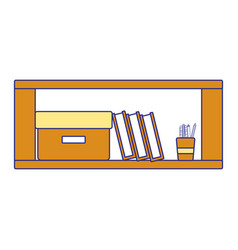 Full color office wood shelf with books and box vector
